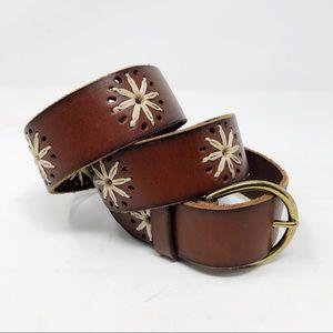 [Lucky Brand] Brown Leather Crochet Starburst Belt
